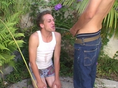 twink pissing into twinks mouth pee peeing watersports