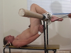 twink tied to bench foot fetish feet torture