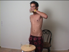 twink drinking own piss peeing