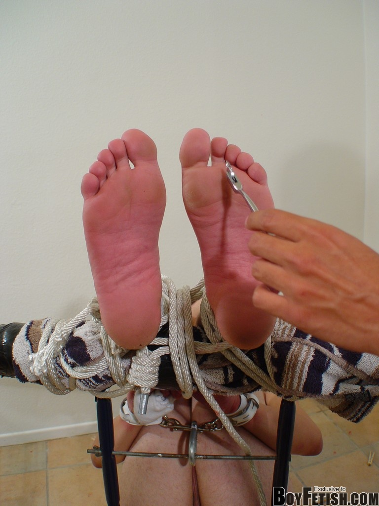 Gay bondage socked feet